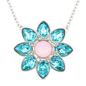 Swarovski crystal aqua flower pendant necklace